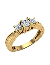 Past Present Future Engraved Shank Three Stone Anniversary Ring Diamond Engagement Ring 14K Gold (G,SI)