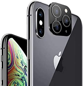 Svyaxfa Modified Camera Lens Seconds Change Cover Sticker Fake Camera for iPhone X XS MAX Change to iPhone 11 Pro or MAX Lens Protector for iPhone X XS MAX (Black)
