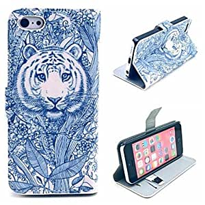 PEACH Tattoo Flower From Tiger Pattern PU Leather Case Cover with Stand and Card Holder for iPhone 5C