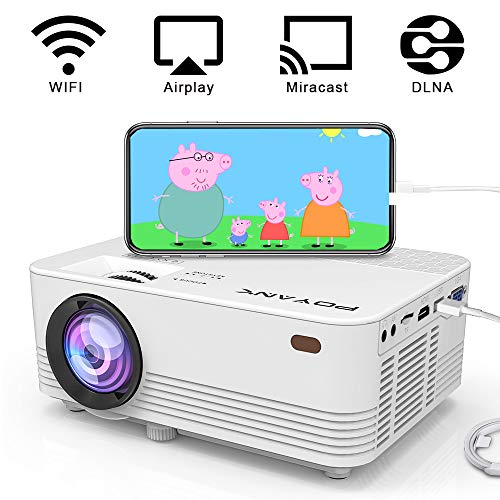 [Wireless Projector] POYANK 2800Lumens LED Wireless Mini Projector, WiFi Projector Compatible with Smartphones, Video Games, TV Box Full HD 1080p Supported (WiFi Model)