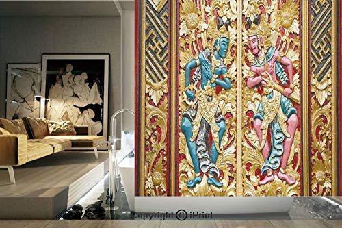 Decorative Privacy Window Film/Temple Door in Indonesia with Traditional Carved Golden Leaves Flowers Patterns /No-Glue Self Static Cling for Home Bedroom Bathroom Kitchen Office Decor Gold brown