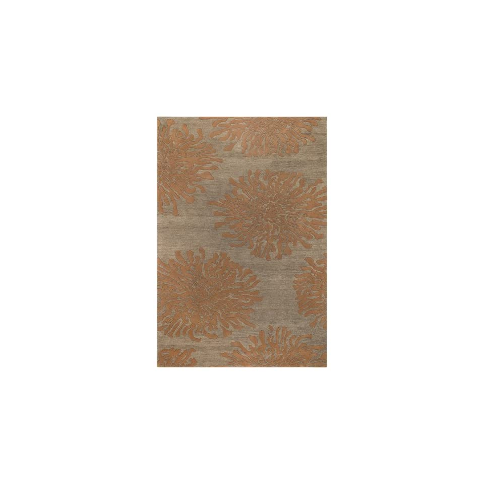 Surya Bombay BST 495 Contemporary Hand Tufted 100% New Zealand Wool Tawny Brown 8 Round Floral Area Rug