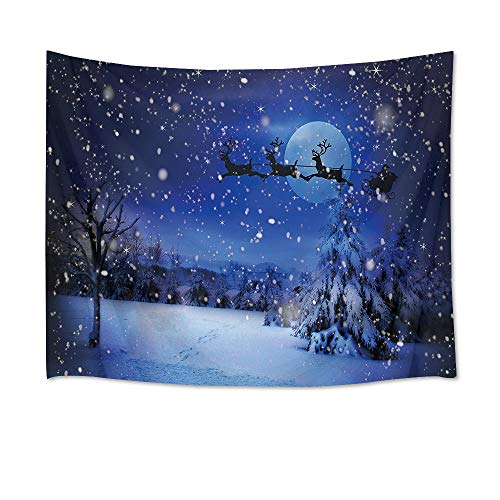 HVEST Christmas Tapestry Wall Hanging Night Sky Tapestry Santa Claus Flies Through The Forest on a Sleigh Pulled by Reindeers Wall Blanket for Bedroom Living Room Dorm Decor,80Wx60H inches -