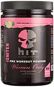 HIT Supplements Women Only Igniter Extreme, Pre Workout Powder for Women, Pina Colada, 247.5 Gram (30 Servings)