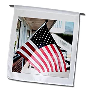 Jos Fauxtographee Patriotism - An American flag flying near a small café in Veyo, Utah - 18 x 27 inch Garden Flag (fl_65002_2)
