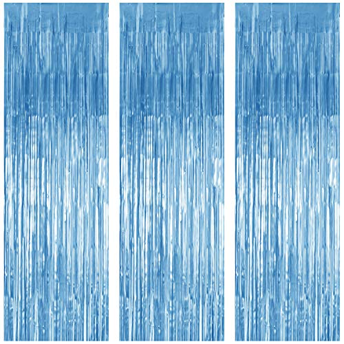 JVIGUE 3 Pack Foil Curtains Metallic Foil Fringe Curtain for Birthday Party Photo Backdrop Wedding Event Decor (Pale Blue)