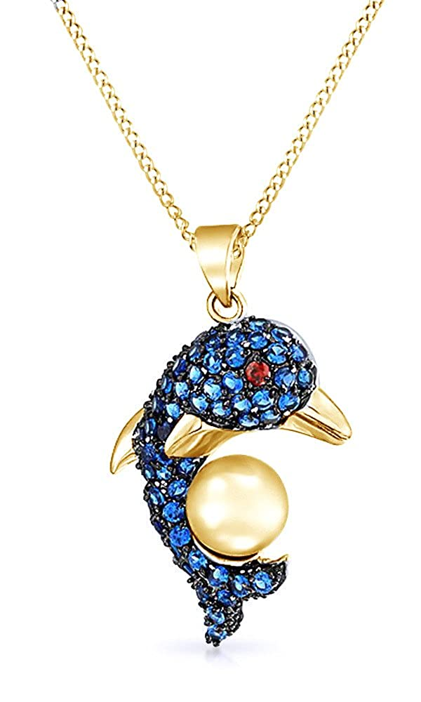 AFFY Simulated Ruby /& Blue Sapphire CZ Jumping Dolphin Nautical Pendant Necklace in Yellow Gold Over Brass