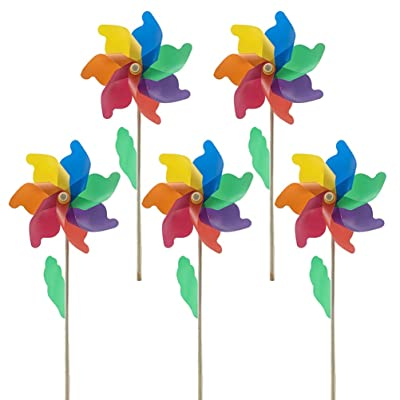 NUOBESTY 5pcs Kids Pinwheels Colorful Windmills with Sticks Outdoor Garden Wind Spinner Toys Party Spinning Toys Set for Children Boys Girls 12cm: Garden & Outdoor