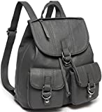 VASCHY Backpack Purse for Women, Fashion Faux Leather Buckle Flap Drawstring Backpack for College with Two Front Pockets Gray