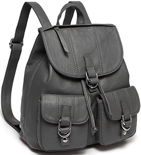 for Women,VASCHY Fashion Faux Leather Buckle Flap Drawstring Backpack for College with Two Front Pockets Gray (Two Zippered Main Pockets)