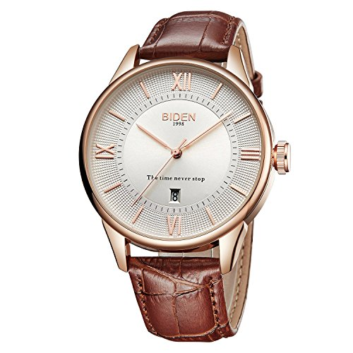 - Watch, Mens Analog Quartz Wrist Watch Classic Casual Watch with Brown Leather Band Simple Calendar Large Face Watches for Men