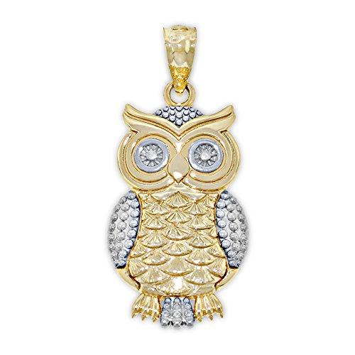 (Charm America - Gold Owl Charm - 14 Karat Solid Gold )