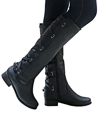 c22073f7a39 Amazon.com  Women Tall Riding Faux Leather Boots With Lace Up Back ...