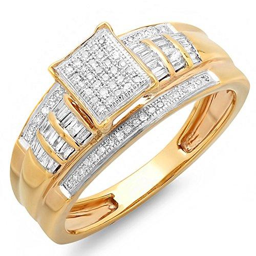 0.33 Carat (ctw) 10K Yellow Gold Round & Baguette Cut Ladies Diamond Bridal Engagement Ring 1/3 CT (Size 6.5) (Yellow Diamond Round Cut)