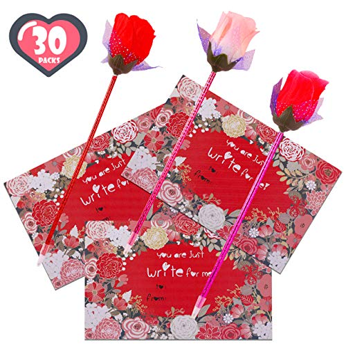 FiGoal 30 Pack Valentine's Day Cute Rose Ballpoint Pen with 30 Valentine's Day Cards Kids Class Stationery Gift Set Student Toy Present Party Favor Goodie Bag Office School Supplies