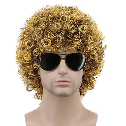 Karlery Mens Short Curly Black and Gold Rocker Wig California Halloween Cosplay Wig Anime Costume Party Wig]()