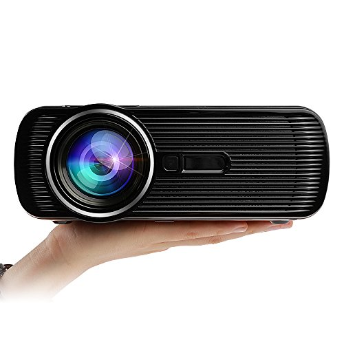 (FastFox Video Projector 800 Lumen 800x480 Multimedia LCD LED Slide Beamer Office Presentation Indoor Family Proyector Gift Movie Night for PC Laptop Powerpoint Black Color)