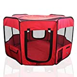 ToysOpoly Portable Pet Playpen Puppy Kennel - Best for Small and Medium Size Dogs and Cats - Simple Folding Design for Easy Storage (Ruby)