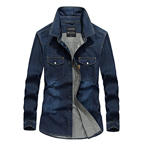 AFSJEEP Mens Denim Shirts Army Military Loose Autumn Long Sleeve Casual Jeans Shirt at Amazon Mens Clothing store: