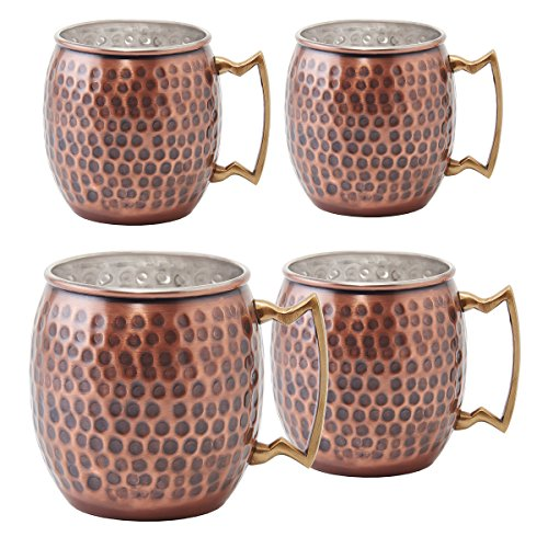 Old Dutch 16 Oz. Nickel-Lined Antique Copper Hammered Moscow Mule Mug, Set of 4 (Dutch Old Antique)