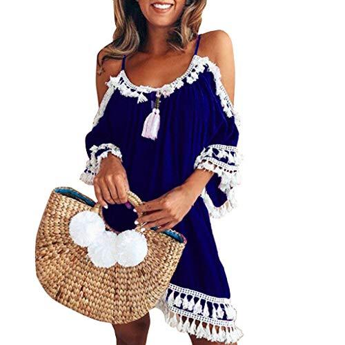 Sumeimiya Women Off Shoulder Dress,Ladies Halter Beach Dresses Tassel Short Cocktail Party ()