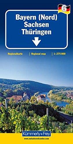 Bayern Nord, Sachsen, Thüringen, Dresden 1:275 000 mit touristischen Informationen und Ortsindex