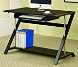 Coaster Contemporary Black Computer Desk with Storage Shelf For Sale