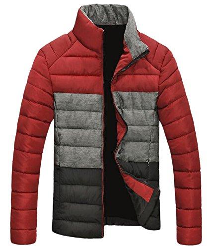 Winter US Jacket Contrast Warm EKU S Up Color Men's Zip Red Coat Down ZP8Hq5w
