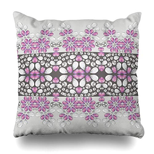 (Ahawoso Throw Pillow Cover Flower Retro Pattern Brilliant Stones Scarf from Shine Beadwork Hand Jewelry Shawl Crystal Design Decorative Sofa Cushion Case 18