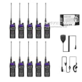 10-Pack NKTECH DM-5RX DMR VHF UHF Dual Band 1W 5W Digital Two Way Radio Walkie Taklie Transceiver With BL-5L 3800mAh 7.4V Li-ion Battery 8.3'' Antenna and NK-S112 Speaker Mic