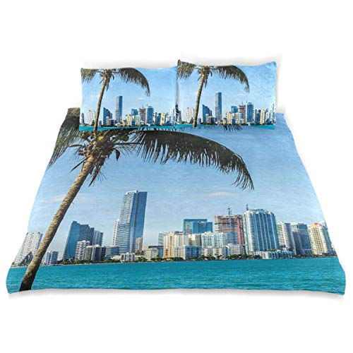 YCHY Decor Duvet Cover Set, Miami Downtown with Biscayne Bay Buildings and Palm Tree Panoramic A Decorative 3 Pcs Bedding Set with Pillowcases, Queen/Full