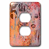 3dRose Andrea Haase Art Illustration - Modern Orange Women Face Vintage Illustration With Number 5th - Light Switch Covers - 2 plug outlet cover (lsp_268123_6)