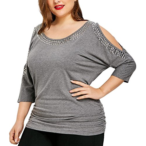 Toimoth Fashion Plus Size Women Casual O-Neck Lady Rivet Tops T-Shirts Strapless Blouse(Grey,4XL)