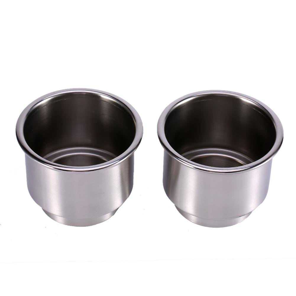 Universal Drink Bottle Can Cup Holder Insert Marine with Insert Drain Hole for Marine Rv Boat Yacht Car 2Pcs Stainless Steel Cup Drink Holder for Boat