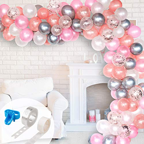 Whaline Balloon Arch & Garland Kit, Rose Gold Pink White & Confetti and Silver Metal Latex Balloons Set with 16ft Balloon Strip Tape, 1pcs Tying Tool and 100 Dot Glue for Wedding Birthday Party Decor