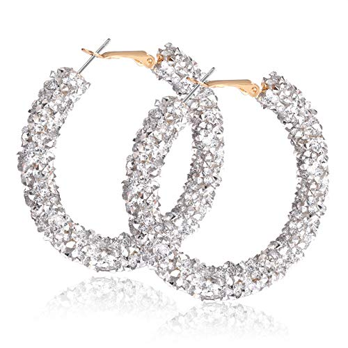 (NLCAC Glitter Hoop Earrings Bohemian Sparkle Resin Rhinestone Wrapped Hoop Dangle Earrings for Women Girls (C-Silver))