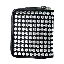 Giuseppe Zanotti Leather Black Silver Beads Decorated Women S Bifold Wallet