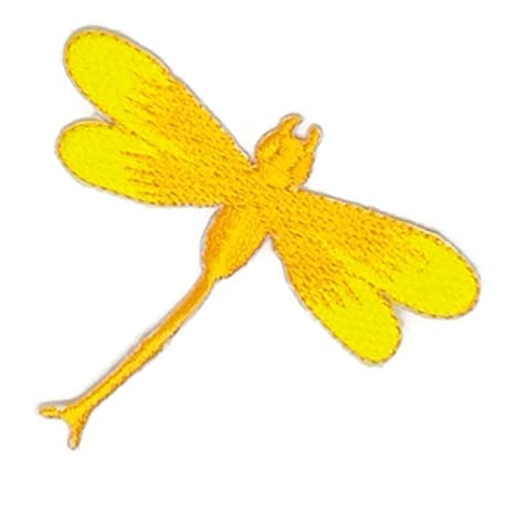 Pequeño tamaño amarillo libélula dibujos bordados para coser, planchar sobre bordado, para manualidades,