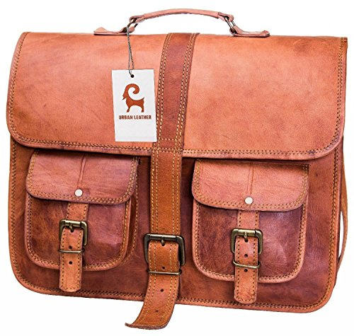 - Urban Leather Handmade Leather Expandable Laptop Bag Handbag for Men Women Boy Girl Unisex Handmade Bag Color Tan Brown Saddle Bag for School College Camping, No Faux or PU, No Smell, Size 16 Inch