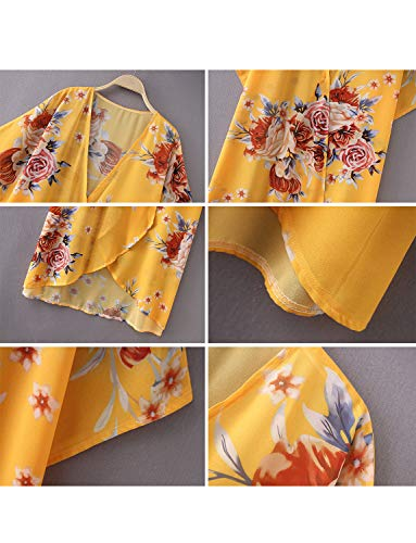 Summer Chiffon Cardigan Long Kimonos for Women Boho-Chic Style Open Front Cover Ups Floral Kimono Jacket Wraps Tops Capes Shawl (Yellow Small)