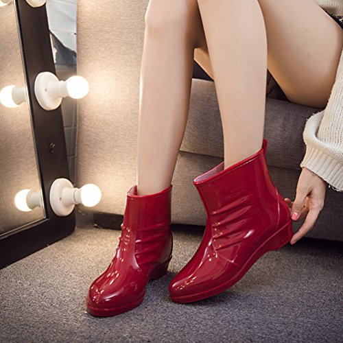 Xinwcang Antideslizante Zapatos Botas De Rojo Impermeable Lluvia Shorty Agua Casual Boot Mujeres RUrSRpq