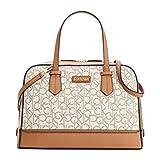 Calvin Klein 4 DB Logo Satchel Top Handle Bag, Almond/Khaki/Cashew Saffiano, One Size