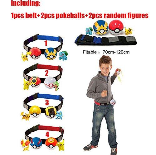 Pokemon Belt For Pokemon Red and White Blue and White Pokeball Pikachu with 2 FREE Random Pokemon Figure Toy Toddler Kids Children Toys
