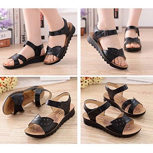 Cuero De Summer Soft Bottom De Mediana ZCJB Mom Edad Zapatos De Mujer C Shoes RdUTq