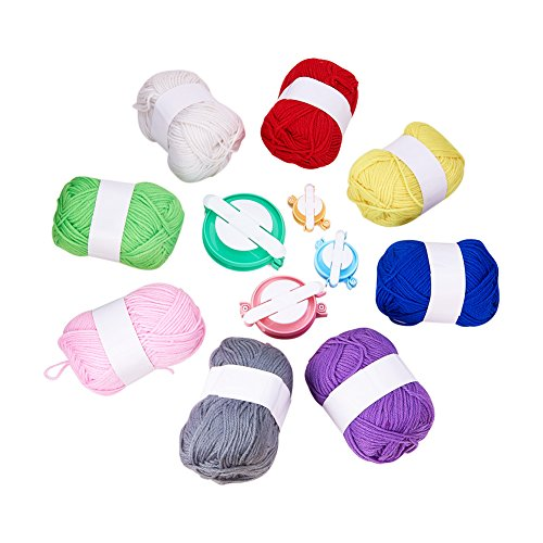 PandaHall Elite DIY Craft Sets with 8 Rolls Polyacrylonitrile Fiber Yarn and 4Pcs Pom-pom Maker Fluff Ball DIY Craft Tool Mixed Color