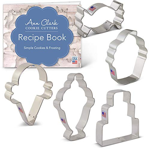 Ann Sweet - Candy & Sweets Cookie Cutter Set with Recipe Booklet - 5 piece - - Ann Clark - USA Made Steel