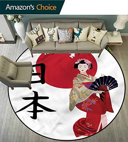 (RUGSMAT Japan Modern Machine Washable Round Bath Mat,Geisha Cherry Blossoms Kanji Foam Mat Bedroom Decor Bedroom Round-39)