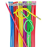 Kicko 13 Inch Flexible Pencil - Pack of 36 Assorted Multi-Colored Loop Pens - Arts and Crafts, School Supplies, Stationery Collection, Perfect for Party Bag Favors and Novelty Knot Accessory