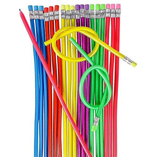 Kicko 13 Flexible Pencil - Pack of 36 Assorted Multi-Colored Loop Pens - Arts and Crafts, School Supplies, Stationery Collection, Perfect for Party Bag Favors and Novelty Knot Accessory