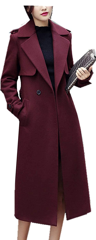 Wein rouge L Coupe Vent Femme Chaud élégant Mode Fille Parker Uni Manche Poches Latérales Button Manches Longues Revers Manteau De Transition VêteHommests D'Extérieur